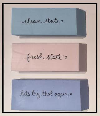 Leslie's 3 erasers.